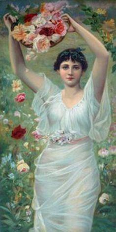 Alfred Seifert (1850 – 1901) – Pintor Checo_16 Mother Art, Flower Basket, Figure Painting, Czech Republic, Prague, Mythology, Art Nouveau, Snow White, German