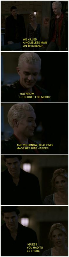 """""""I guess you had to be there"""" - Buffy and Angel's reaction to Spike are priceless! - Buffy the Vampire Slayer"""