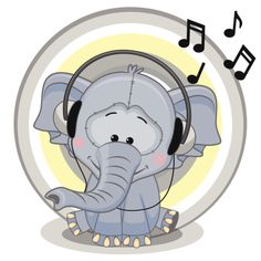Elefante com fones de ouvido - ilustração de arte em vetor