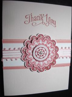 Handmade Thank You Card Stampin Up Quint Essential Flower Pearls Ribbon