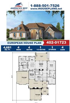 Fall in love with this European design, Plan 402-01723 delivers 4,681 sq. ft., 4 bedrooms, 4.5 bathrooms, a covered porch, an exercise room, an office layout, and a theater room. Visit our website for more details about this European design. European Plan, European House Plans, Best House Plans, Cad Programs, Dining Room Office, Floor Plan Drawing, Cost To Build, Construction Drawings, Covered Decks