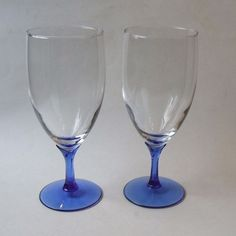 2 Libbey Domaine Blue Crystal Iced Tea Beverage Glasses 7.75 Inch #Libbey