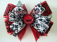 OTT hair bow Skull red