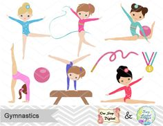Gimnasia gráfico Digital Digital chicas gimnasia Clip Art