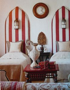 Twin Beds Amelia T. Handegan, Lonny, House to Home UK, Coastal Living, Sunset… Decor, Creative Headboard, Home, Home Bedroom, Interior, Red Rooms, Bedroom Decor, Beautiful Bedrooms, Room