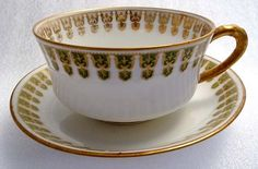 1920s Antique French Haviland Gold & Green Chevron TEA CUP SET Demitasse FBC | eBay