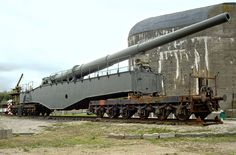 A surviving Krupp K5 28cm railway gun at the Batterie Todt Museum, Audinghen, France. The K5 could project a 560lb shell up to 40 miles and could fire 15 rounds per hour.