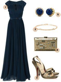 Preparandote para una boda este fin de semana? checa este vestido azul con accesorios gold