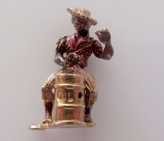 9ct Gold Man Playing the Bongo Drum Mechanical Enamel Charm by TrueVintageCharms on Etsy