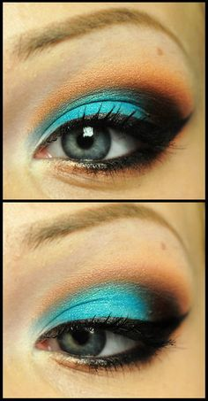 Peach and Teal.