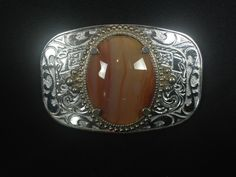 Rectangular Western Filigree Zinc With Orange Stone Belt Buckle Silver Color   | eBay