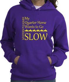 Western Pleasure Slow Quarter Horse Purple Hooded Sweatshirt - Charlie Horse Apparel #chapparel