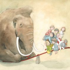 Quentin Greban is another huge love of mine! His watercolours are amazing! Every time when I look at his illustrations, I want to p. Art And Illustration, Illustration Mignonne, Elephant Illustration, Elephant Love, Elephant Art, Art Fantaisiste, Children's Picture Books, Whimsical Art, Illustrators