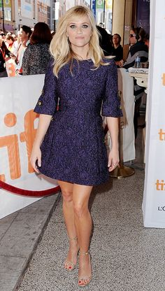 Reese Witherspoon pairs a Dolce & Gabbana dress with Saint Laurent sandals. // #Celebrity