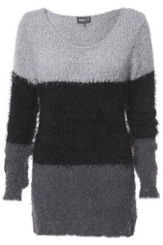 Grey & Black Colour Block Jumper in KNITWEAR from Apricot