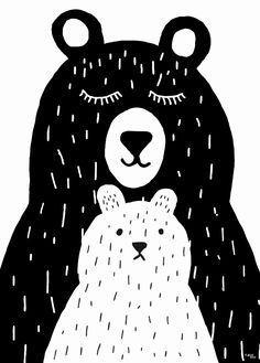 Poster Grote beer en kleine beer / Affiche Grand et petit ours / Poster Big bear and baby bear Illustration Art Nouveau, Cute Illustration, Black And White Illustration, Animal Nursery, Nursery Art, Kids Prints, Art Prints, Baby Posters, Motifs Animal