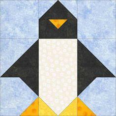 Penguin paper pieced quilt block