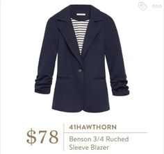 41Hawthorn Benson 3/4 Ruched Sleeve Blazer in Navy - this would be great for work this fall