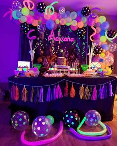 Glow in the dark birthday party! I had so much fun making this theme ! Sleepover Birthday Parties, Birthday Party For Teens, 18th Birthday Party, Sweet 16 Birthday, Birthday Party Decorations, Glow Party Decorations, Neon Party Themes, Neon Birthday Cakes, Teen Parties