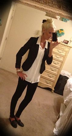 Steve Madden black studded loafers, black J Brand skinnies, white button down blouse, black blazer, and a top knot with a bow pinned underneath...love my casual Friday work outfit!