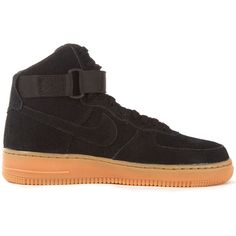 Nike Black Air Force 1 Suede High-Top Trainers ($140) ❤ liked on Polyvore featuring shoes, sneakers, black shoes, lightweight sneakers, nike high tops, high top sneakers and nike trainers