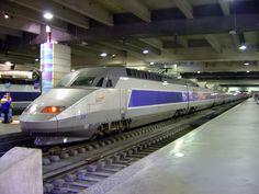 A TGV train inside Gare Montparnasse in Paris.