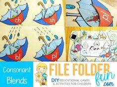 free printable file folder language games for first graders; many others also available for the other grades