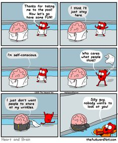 Brain gets self-conscious at the pool. The awkward yeti comics LOL