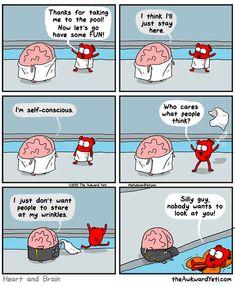 Brain gets self-conscious at the pool. The awkward yeti comics LOL