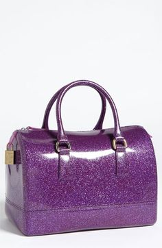 Furla Candy Glitter Rubber Satchel Available At Nordstrom Purple Bling