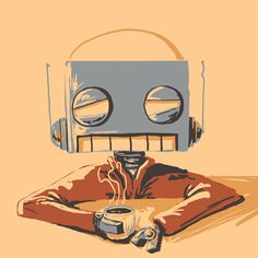 A Slow Start Print - Robot Art by Matt Q. Spangler