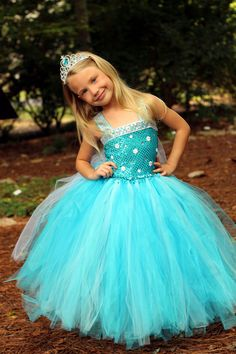 Frozen Snow Queen Inspired Elsa tutu dress Princess dress costume dress up birthday party pictures photo prop snowflake gown