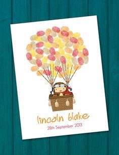 Hot Air Balloon Birthday/Christening by PeachyStationery on Etsy, $55.00