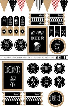 BBQ Printable, Party Printable,BBQ Party, BBQ, Labels, Banner, Outdoor party…