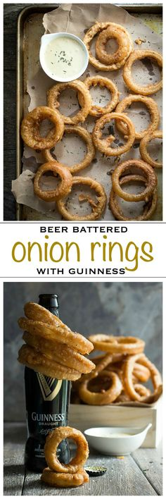 Giant beer battered Guinness onion rings with a Dijon mustard dip | Foodness Gracious