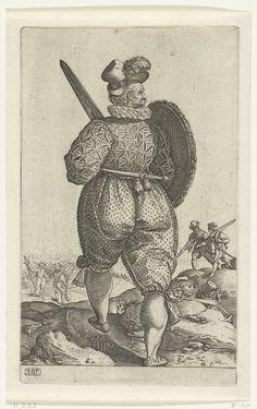 Een strijder met zwaard, op de rug gezien, Hendrick Goltzius, c. 1580 - c. 1582