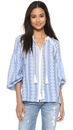 Boho blue & white tassel blouse