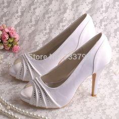 d9a379a4cfb (21 Colors)Custom Handmade Wedopus White Wedding Shoes Bride Dress Shoes  High Heeled
