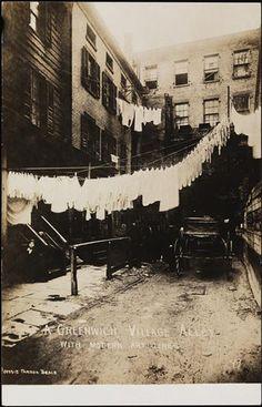 Greenwich Village Alley with Modern Art Lines Date: 1905 - 1920