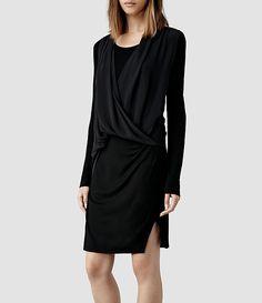 Womens Abi Sleeve Dress (Black)   ALLSAINTS.com