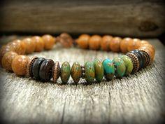 ,Bracelet for Men Turquoise Bracelet, Beaded Mens Bracelet by StoneWearDesigns