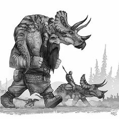 For todays dinosaurs and warriors.A giant carries. For todays dinosaurs and warriors.A giant carries an injured triceratops back to camp. Dinosaur Drawing, Dinosaur Art, Magical Creatures, Fantasy Creatures, Jurassic Park, Jurassic World, Character Art, Character Design, Ju Jitsu
