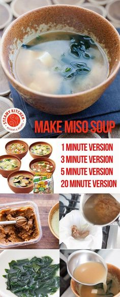 How to make miso soup, 4 different ways. Choose method that fits your time. Make miso soup in 1 minute to authentic version with dashi from scratch. via @steamykitchen