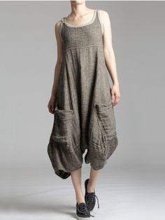 RUSTIC LINEN JUMPSUIT WITH DETAILS IN JERSEY - PARKAS, JACKETS, GILETS, JUMPSUITS, OVERALLS, OVERSIZE - Woman -