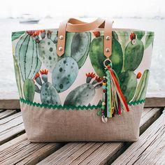Cénélia – Summer tote bag printed with cactus – Summer bag – Top-of-the-range bag handmade in France – Martinique - Fabric Handbags, Purses And Handbags, Diy Bag Designs, Sacs Tote Bags, Tods Bag, Summer Tote Bags, Craft Bags, Diy Bags, Trendy Handbags