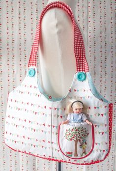 Sewing Pattern for Ruby Lou Bag, a cute tote bag pattern for little girl . Love the front pocket!