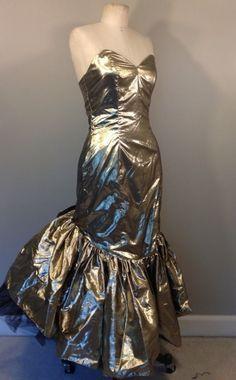 93918c58f6f6 Vintage 80s Zum Zum Gold Prom Dress #ZumZum Gold Prom Dresses, Strapless Dress  Formal