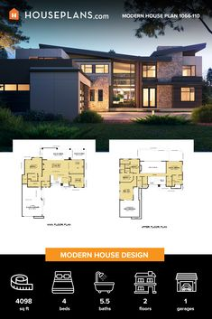 Modern house design never looked so good! This sweet modern house plan features an open floor plan between the living room and kitchen, plus cool outdoor living spaces. Modern Floor Plans, Home Design Floor Plans, Contemporary House Plans, Contemporary Style Homes, Modern House Plans, Modern Farmhouse Table, Modern Rustic Decor, Farmhouse Plans, Dream House Exterior