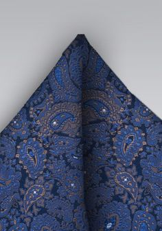 Blue and Bronze Paisley Pocket Square