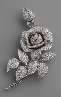 "Fabergé. Brooch ""Rose"". Platinum, diamonds. It was made for Empress Alexandra Feodorovna of Russia."